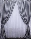 """Шторная ткань лён блэкаут рогожка, коллекция """"Саванна"""", высота 2,8м. Цвет серый. Код 635ш, фото 3"""