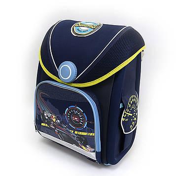 """Рюкзак-коробка з магнітним замоком EasyLock """"Гонка"""" ортопедична спинка, світловідбиваючі елементи,37х28х16см"""