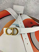 Белый кожаный ремень Диор