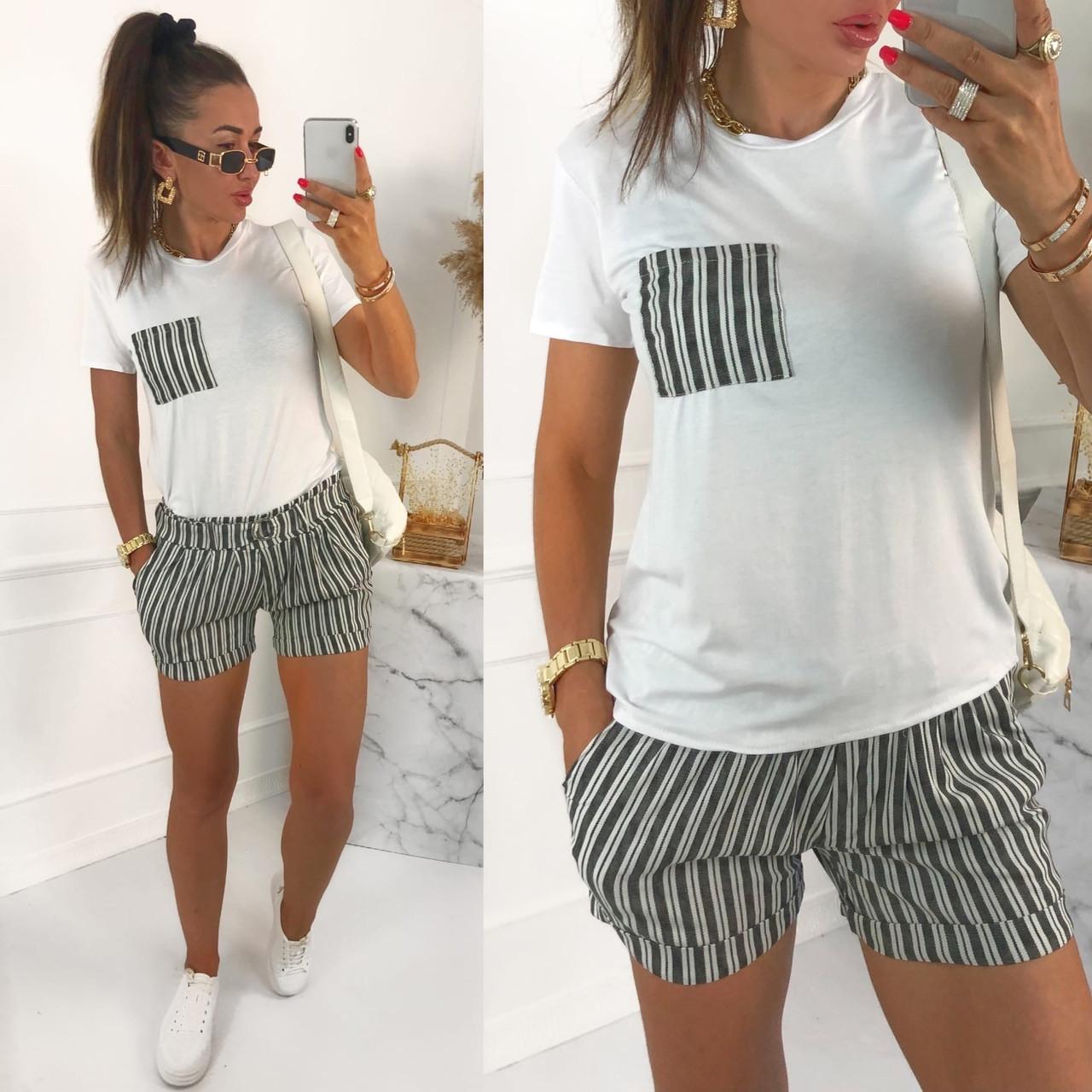 Женский стильный костюм с шортами из льна и футболкой (Норма)