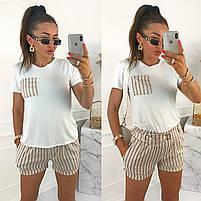 Женский стильный костюм с шортами из льна и футболкой (Норма), фото 3