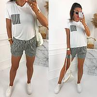 Женский стильный костюм с шортами из льна и футболкой (Норма), фото 6