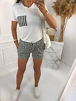 Жіночий стильний костюм з шортами з льону і футболкою (Норма), фото 5