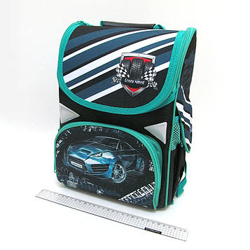 """Рюкзак коробка """"Sportcar"""" 13,5"""" 34х26х14,5см Ортопедична спинка, світловідбиваючі елементи"""