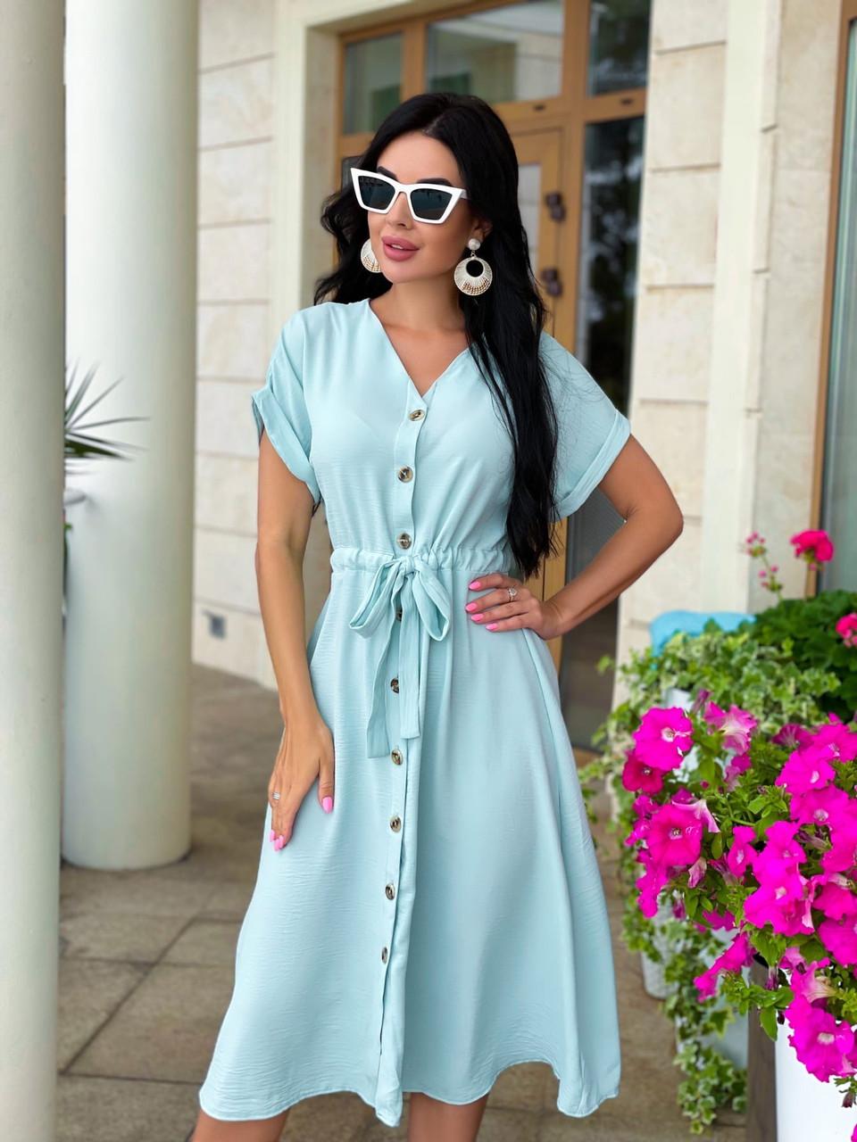Женское летнее удлиненное платье на пуговицах ткань креп жатка размер: 42-44, 46-48,50-52