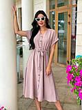 Женское летнее удлиненное платье на пуговицах ткань креп жатка размер: 42-44, 46-48,50-52, фото 3