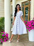Женское летнее удлиненное платье на пуговицах ткань креп жатка размер: 42-44, 46-48,50-52, фото 5