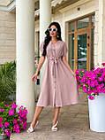 Женское летнее удлиненное платье на пуговицах ткань креп жатка размер: 42-44, 46-48,50-52, фото 7