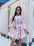 Жіноче літнє ошатне плаття з поясом софт довгий рукав розмір: 42-44, 46-48, фото 3