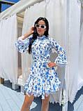 Жіноче літнє ошатне плаття з поясом софт довгий рукав розмір: 42-44, 46-48, фото 4