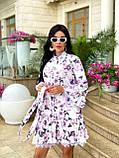Жіноче літнє ошатне плаття з поясом софт довгий рукав розмір: 42-44, 46-48, фото 2