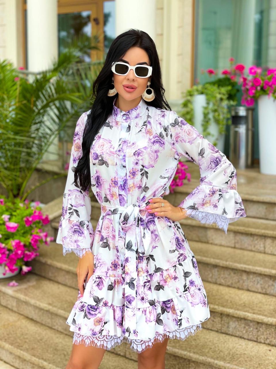 Жіноче літнє ошатне плаття з поясом софт довгий рукав розмір: 42-44, 46-48