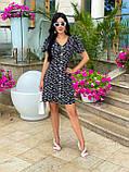 Жіноче літнє ошатне плаття з поясом софт довгий рукав розмір: 42-44, 46-48, фото 5
