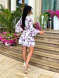 Жіноче літнє ошатне плаття з поясом софт довгий рукав розмір: 42-44, 46-48, фото 6