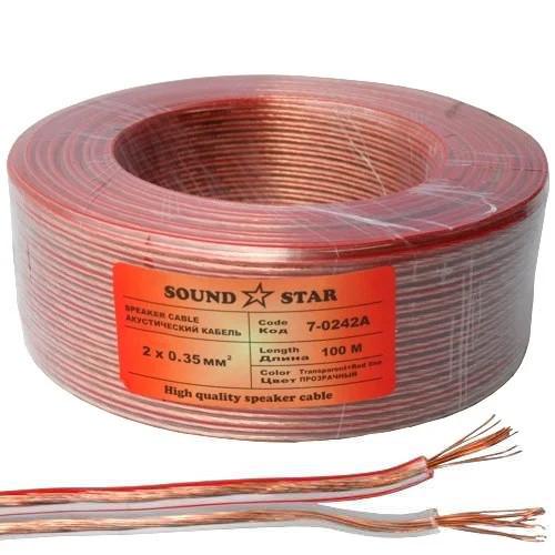 Кабель акустичний Sound Star, CCA, 2х0.35мм2, прозорий, 100м