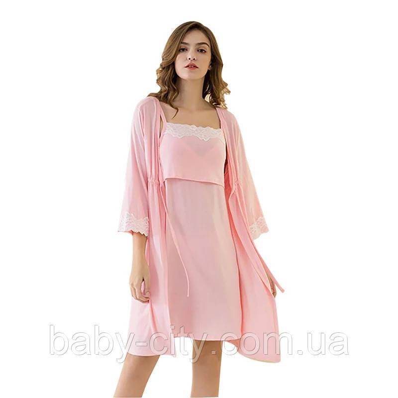 Комплект ночнушка и халат для беременных и кормящих