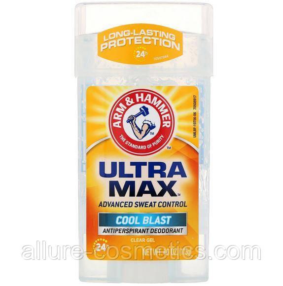 Гелевий дезодорант надійний захист великий обсяг Arm & Hammer Ultra Max Advanced sweat control Cool Blast 114г