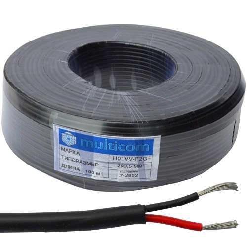 Кабель живлення в подвійній ізоляції 2х0,5мм. кв., TinCCA, чорний, 100м., H01VV-F2G