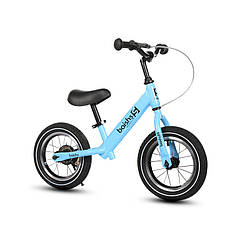 Дитячий беговел Baishs 002 Blue двоколісний велосипед без педалей з ручним гальмом 29 см