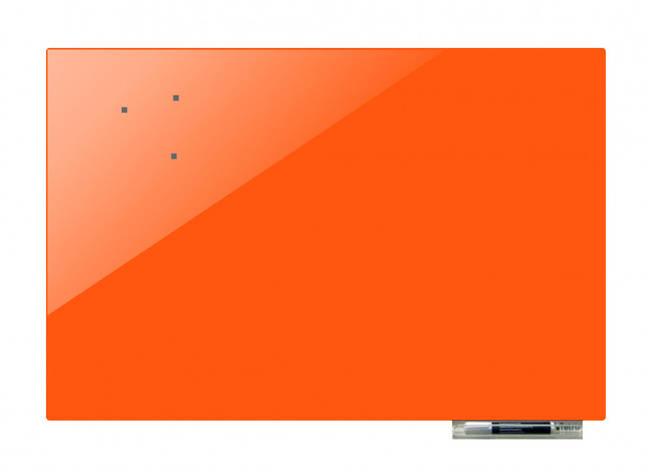 Дошка магнітно-маркерна скляні GL100150, 100x150 (Морквяний, фото 2