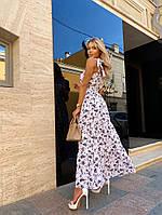 Женское нежное платье макси с цветочным принтом на бретелях (Норма), фото 2