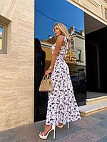 Женское нежное платье макси с цветочным принтом на бретелях (Норма), фото 3