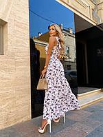 Женское нежное платье макси с цветочным принтом на бретелях (Норма), фото 4