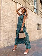 Женское нежное платье макси с цветочным принтом на бретелях (Норма), фото 7