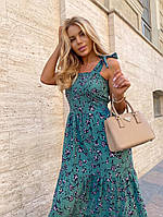 Женское нежное платье макси с цветочным принтом на бретелях (Норма), фото 8