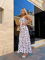 Женское нежное платье макси с цветочным принтом на бретелях (Норма), фото 9