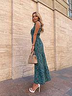 Женское нежное платье макси с цветочным принтом на бретелях (Норма), фото 10