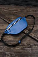 """Поясна сумка """"Бананка"""" з натуральної шкіри Му синій колір."""