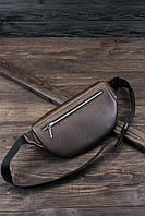 """Поясна сумка """"Бананка"""" з натуральної шкіри Му темно-коричневий колір."""