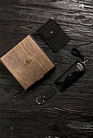 Набор зажим с монетницей + ключница + брелок темно-коричневый