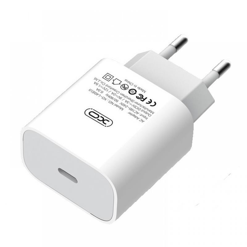 Сетевое зарядное устройство XO L40 (1USB-C, 3A) PD White (00000014094)