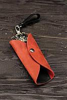 Ключница из натуральной кожи красная