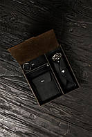 Набор зажим с монетницей + ключница + брелок черный
