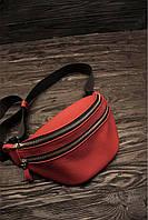 """Поясна сумка """"Бананка"""" з натуральної шкіри L червоний колір."""