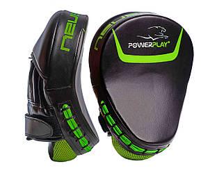 Лапи боксерські PowerPlay 3041 PU Чорно-Зелені ES, КОД: 1213517