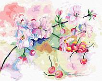 Весенняя черешня акварелью