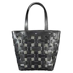 Кожаная плетеная женская сумка BlankNote Пазл Krast L Черная BN-BAG-33-g ES, КОД: 1277496