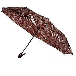 Женский зонт полуавтомат Max News с газетным принтом Бордовый с белым 2008-1 ES, КОД: 1616203