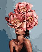 Дівчина в квітучих пионах