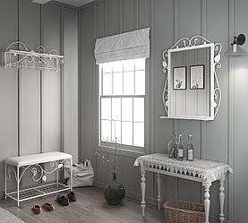 Комплект прихожей вешалка пуф зеркало Tenero Хилтон Белый 1590 ES, КОД: 1555076