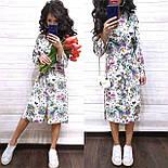 Летнее принтованное платье рубашка в растительный принт с поясом длиной миди (р. S-XL) 9032714, фото 2