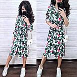Летнее принтованное платье рубашка в растительный принт с поясом длиной миди (р. S-XL) 9032714, фото 3