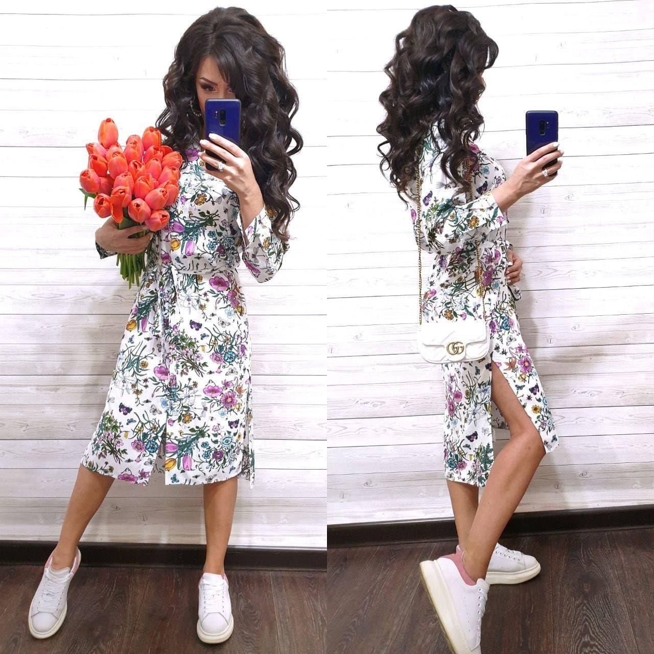 Летнее принтованное платье рубашка в растительный принт с поясом длиной миди (р. S-XL) 9032714