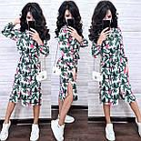 Летнее принтованное платье рубашка в растительный принт с поясом длиной миди (р. S-XL) 9032714, фото 5