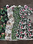 Летнее принтованное платье рубашка в растительный принт с поясом длиной миди (р. S-XL) 9032714, фото 4