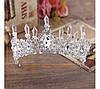 Корона і сережки, діадема з зеленими каменями, набір прикрас Офіру, фото 3
